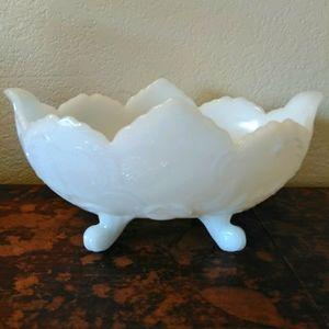 White Milk Glass Dish Claw Foot Bowl